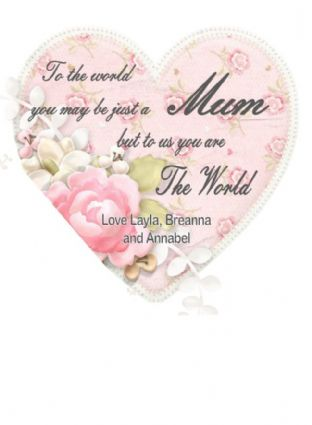 Personalised To the World Heart Hanging Plaque